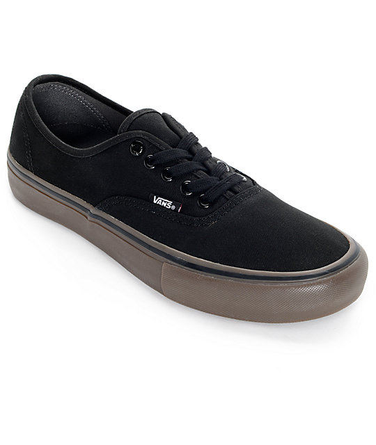 Vans Authentic Pro Black and Gum Skate Shoes