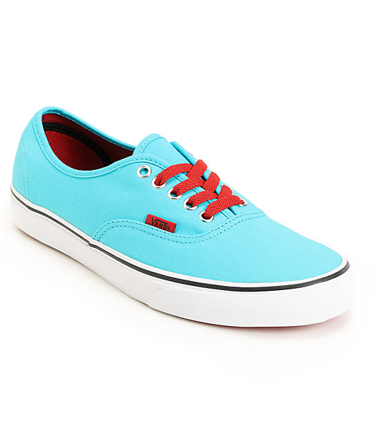 Vans Authentic Scuba Blue & Chili Pepper Red Skate Shoes (Mens)