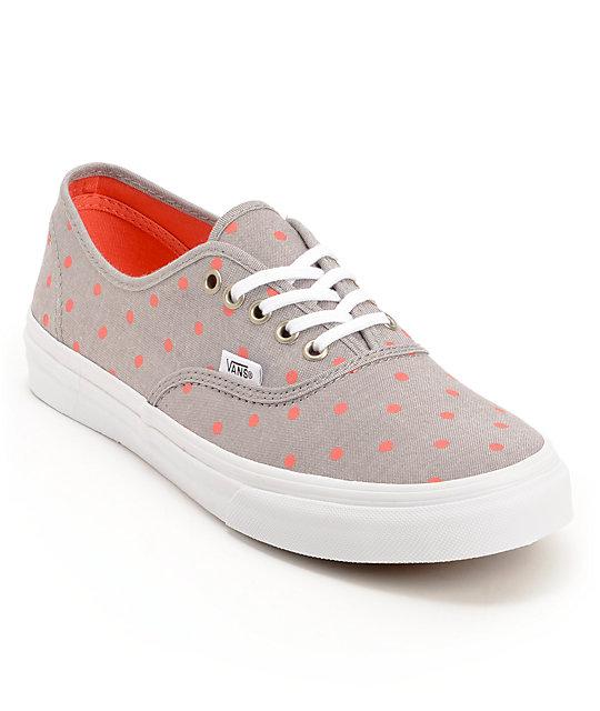 Vans Authentic Slim Grey Chambray & Coral Polka Dot Shoes (Womens)