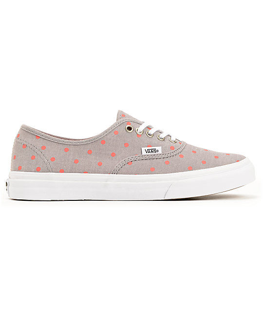Vans Authentic Slim Grey Chambray & Coral Polka Dot Shoes
