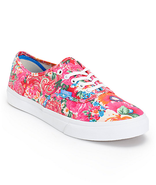 Vans Authentic Slim Pink & White Floral Print Shoes (Womens)