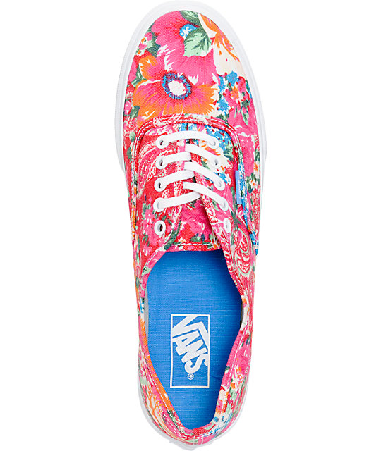 Vans Authentic Slim Pink & White Floral Print Shoes