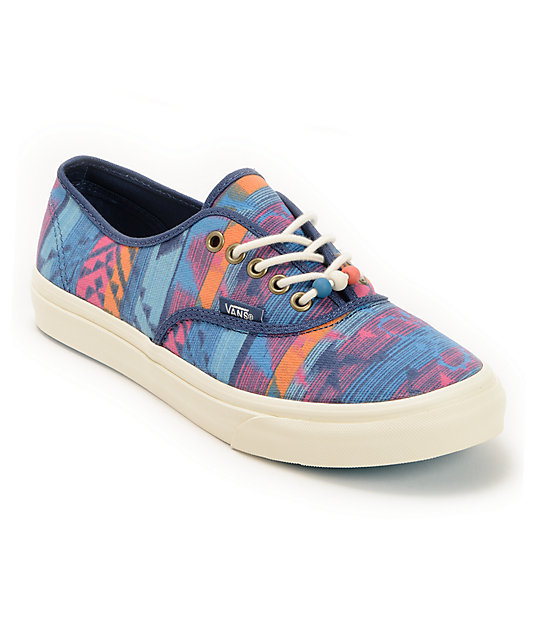 Vans Authentic Slim Tribal Print & Marshmallow Blue Shoes (Womens)