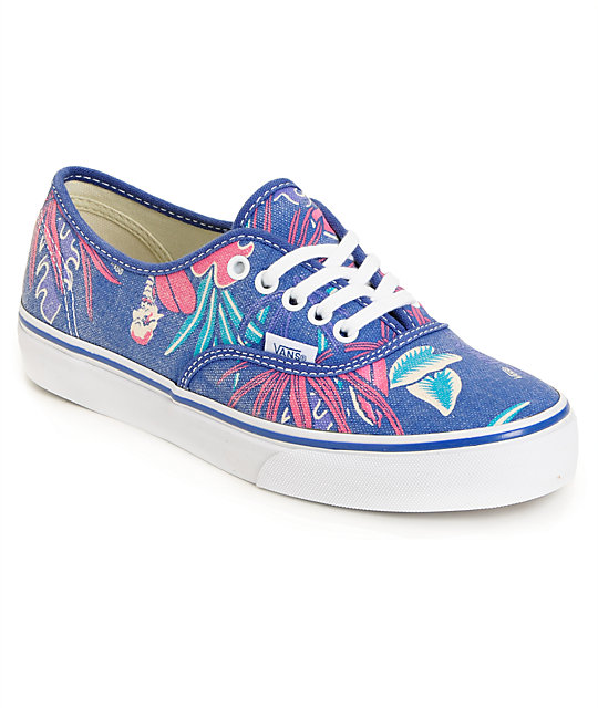 Vans Authentic Slim Van Doren Blue & Parrot Green Shoes (Womens)
