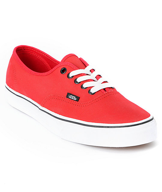 Vans Authentic Tough Poly Red Skate Shoes (Mens)
