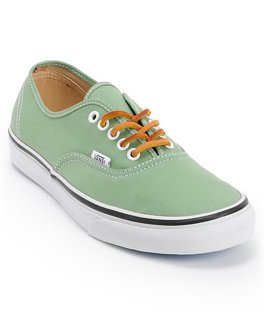 Vans Authentic Twill Shale Green & True White Skate Shoes (Mens)