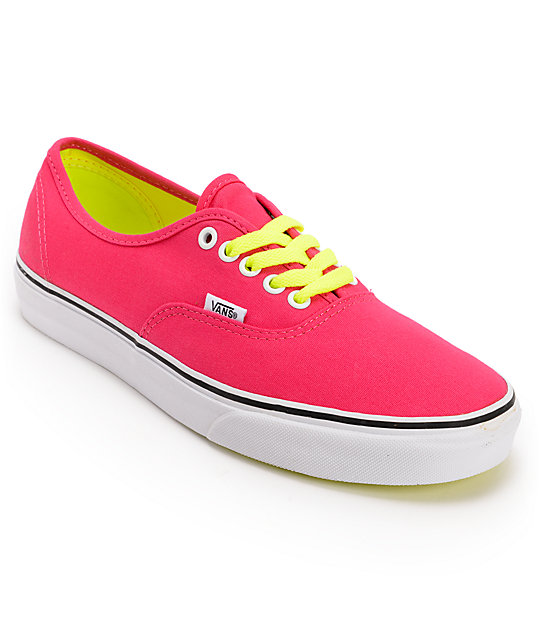 Vans Authentic Virtual Pink Pop Lace Shoes (Womens)