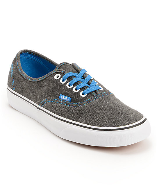 Vans Authentic Washed Black & Blue Canvas Skate Shoes (Mens)