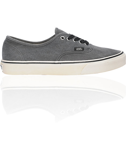 Vans Authentic Washed Black Skate Shoes (Mens)