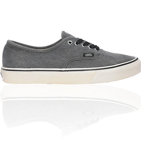 Vans Authentic Washed Black Skate Shoes (Mens)
