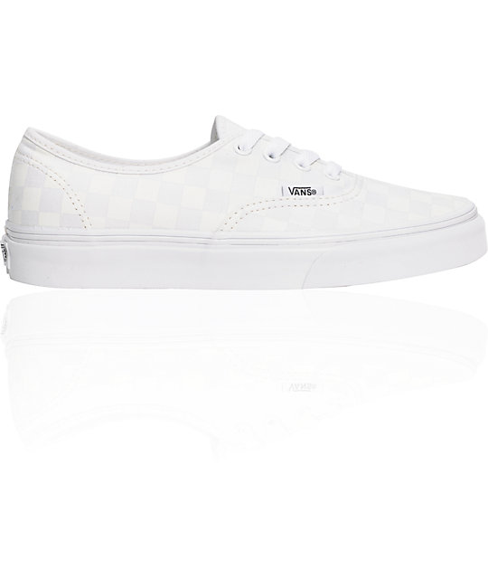 Vans Authentic White Chex Shoes (Womens)