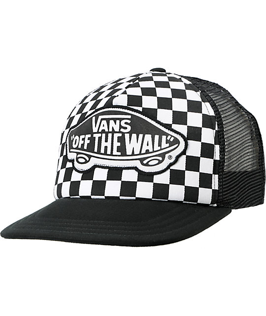 Vans Beach Girl Checker Black Snapback Trucker Hat