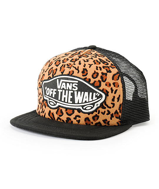 Vans Beach Girl Leopard Print & Black Trucker Hat