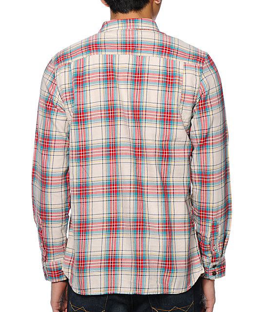 Vans Birch White & Red Long Sleeve Flannel Shirt