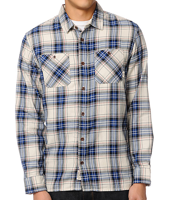 vans birch white blue plaid flannel shirt
