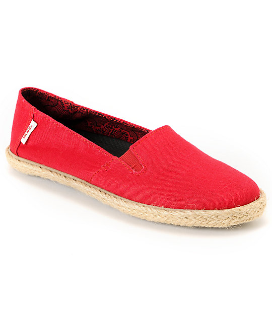 Vans Bixie Chili Pepper Hemp & Rope Sole Shoes (Womens)