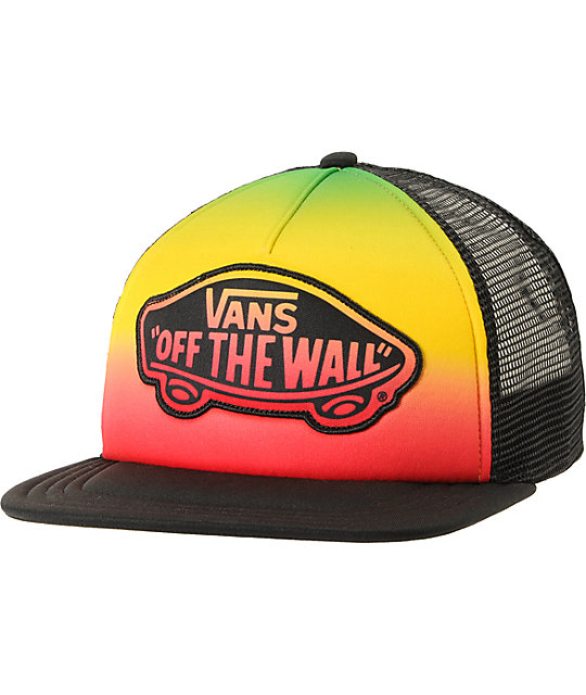 Vans Black & Rasta Fade Transport Trucker Hat