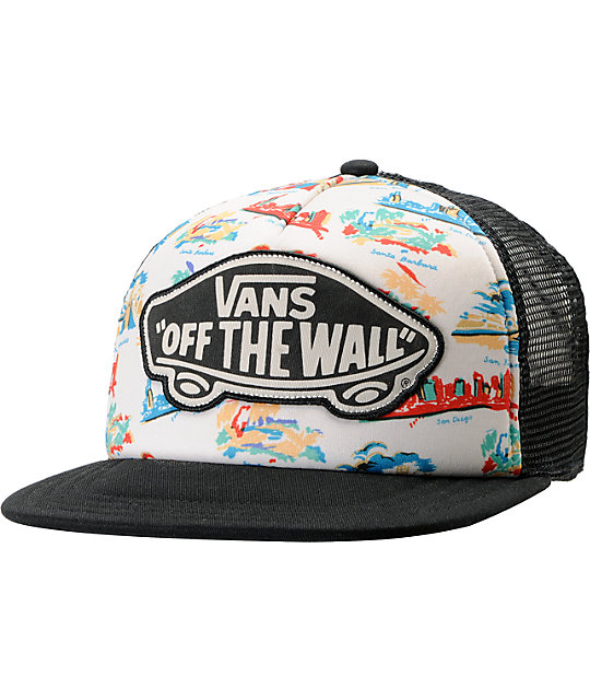 Vans Black & Travel Print Trucker Hat