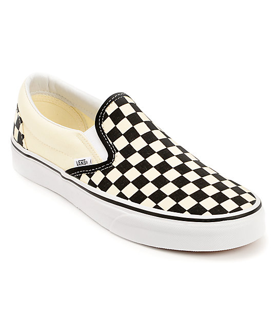 Vans Black & White Checkered Slip On Canvas Skate Shoes (Mens)