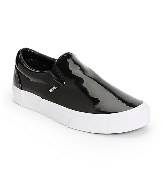 Vans Black Patent Leather Slip-On Shoes (Womens)