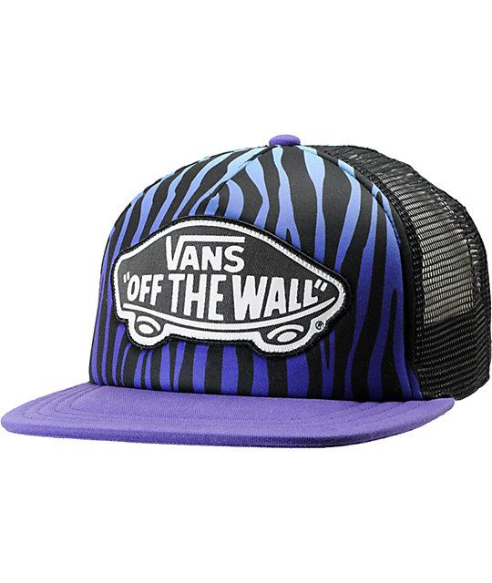 Vans Blue & Purple Zebra Print Trucker Hat