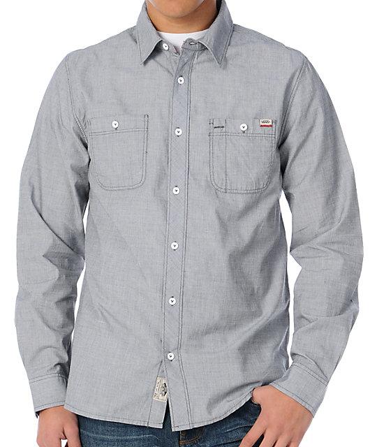 Vans Boone Grey Long Sleeve Button Up Shirt at Zumiez : PDP