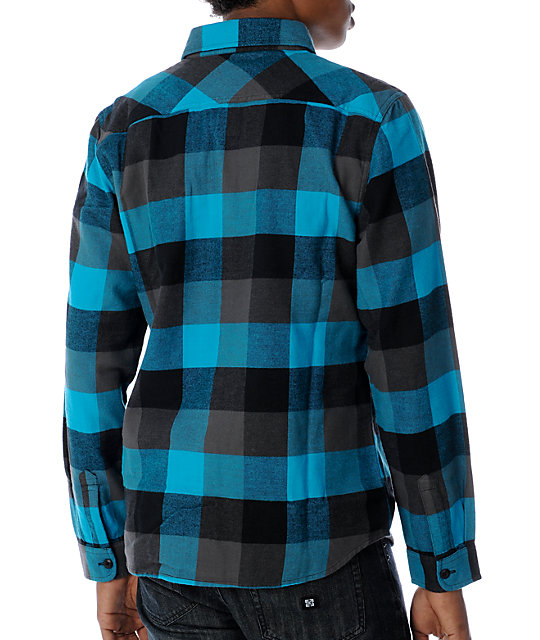 Vans Box Black & Turquoise Flannel Shirt