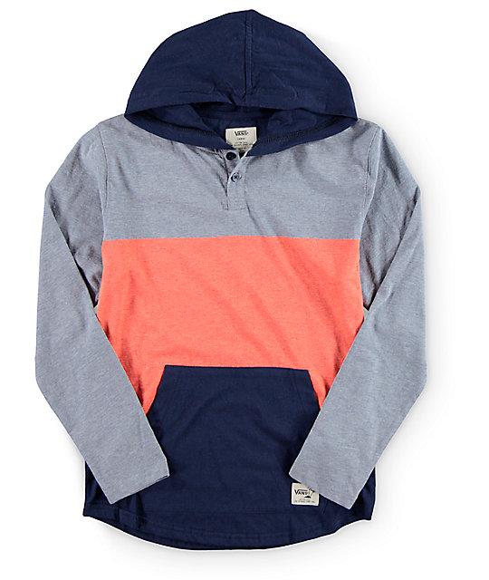 vans boys bayview long sleeve hooded henley t shirt