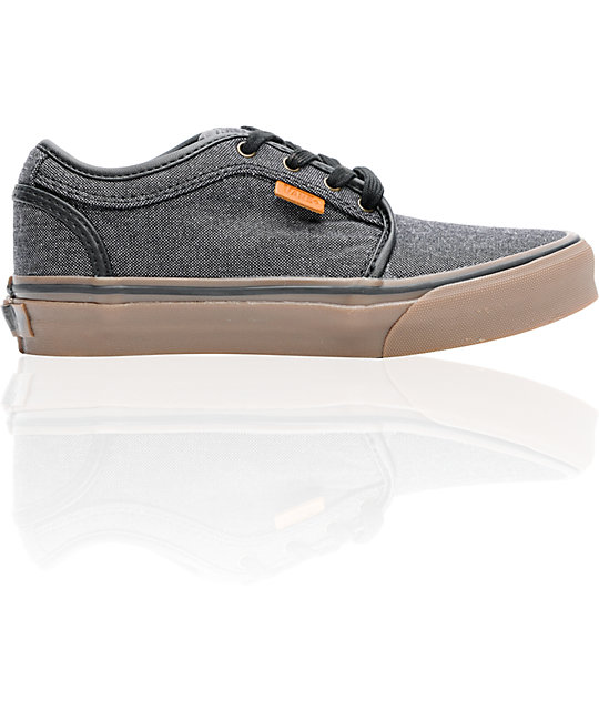 Vans Boys Chukka Low Oxford Canvas Black & Gum Shoes
