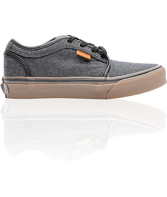 vans boys chukka low oxford canvas black gum shoes zumiez