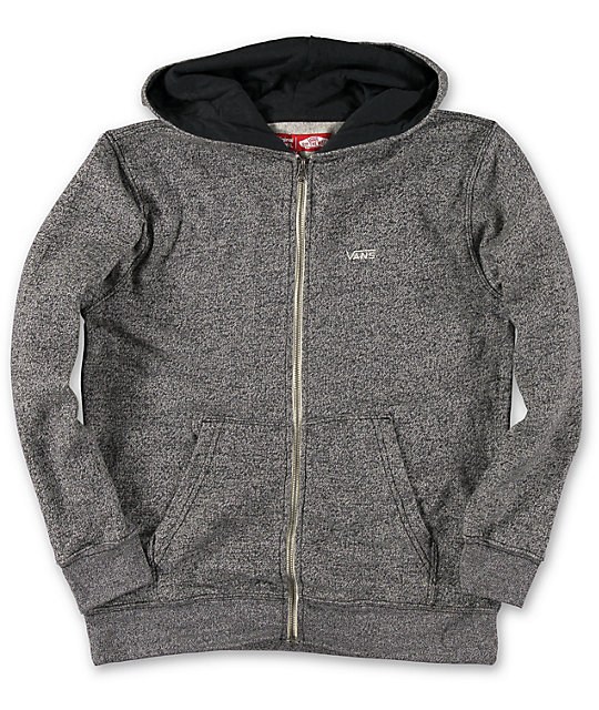 Vans Boys Core Basics Heather Charcoal Zip Up Hoodie