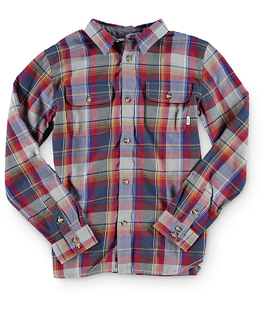 Vans Boys Elm Long Sleeve Button Up Shirt