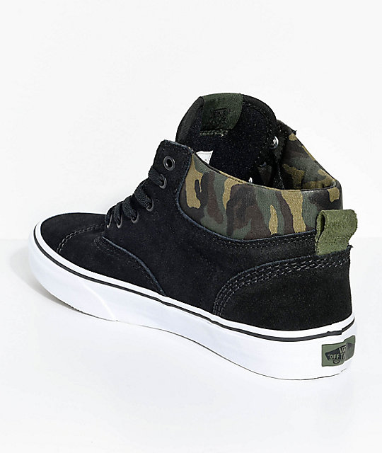 Vans Boys Era Hi Black & Camo Suede Skate Shoes