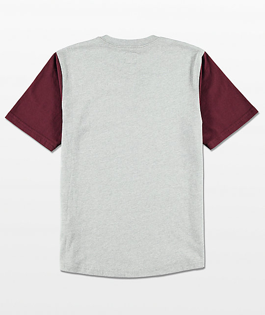 Vans Boys Hitson Heather Grey & Port Wine Henley Shirt