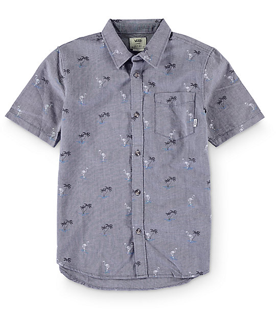 Vans Boys Houser Blue Print Button Up Shirt