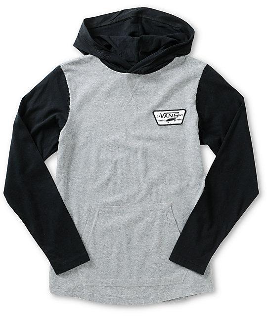 Vans Boys Milner Black & Grey Hooded Shirt