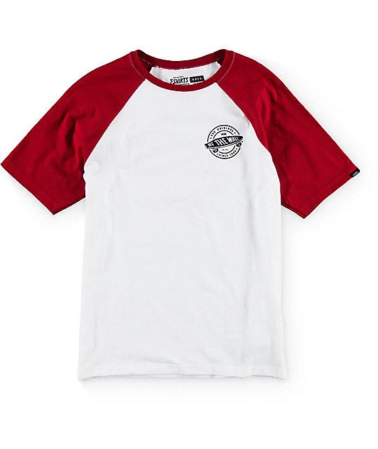 Vans Boys Original 66 White Red Raglan T Shirt