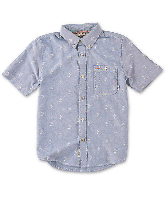 Vans Boys Rusden Mini Palm Blue Short Sleeve Button Up Shirt