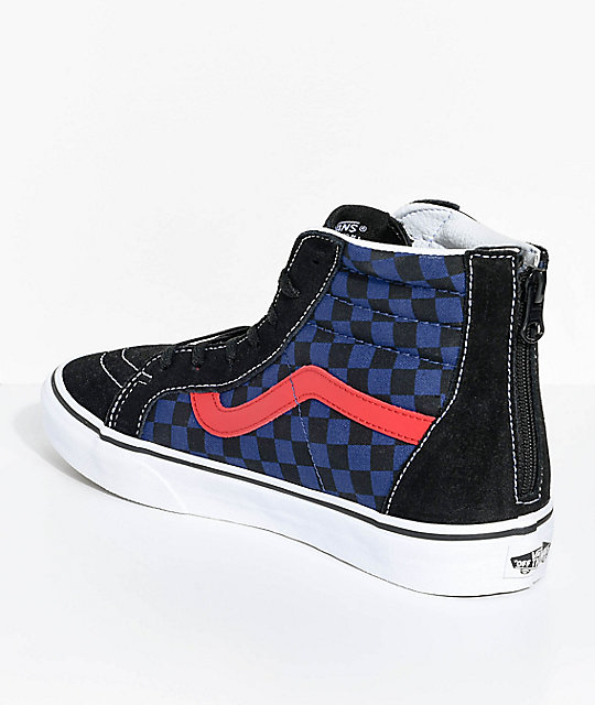 Vans Boys Sk8-Hi Checkerboard Zippered Skate Shoes
