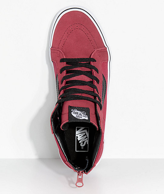 Vans Boys Sk8-Hi Tibetan Red Zippered Skate Shoes