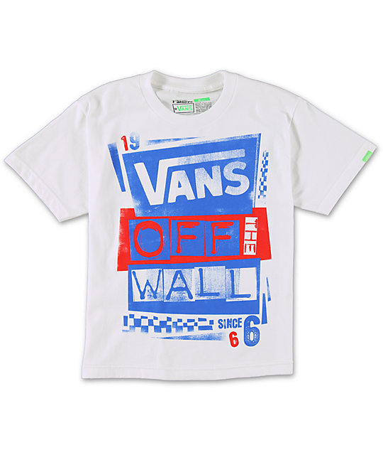Vans Boys Stenciled White T-Shirt