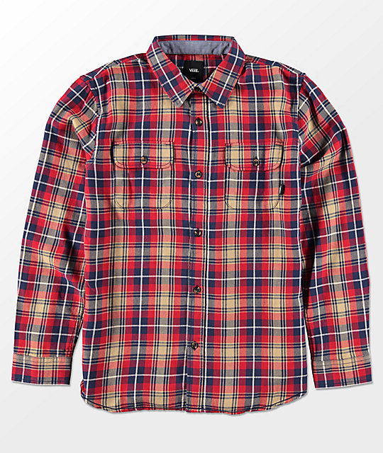 Vans Boys Sycamore Chili & Khaki Flannel Shirt