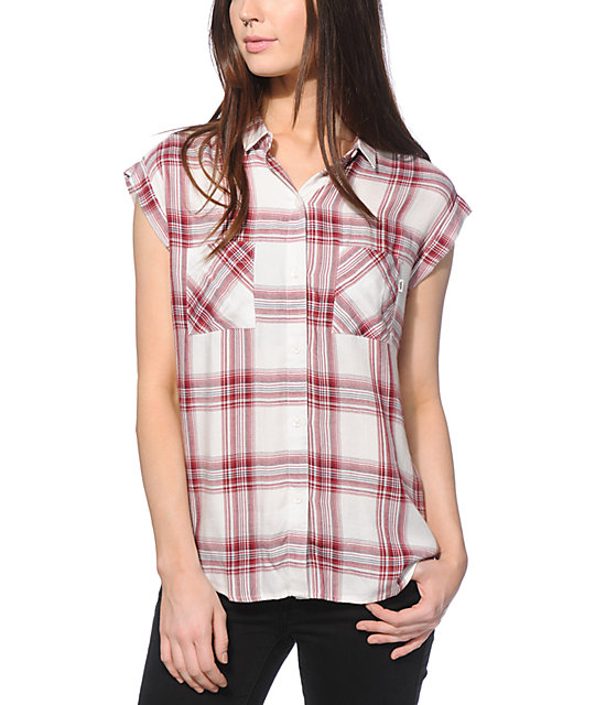 Vans Burgundy Plaid Button Up Shirt