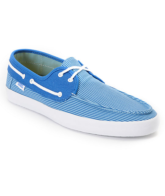 Vans Chauffeur Blue Pinstripe Boat Skate Shoes (Mens)