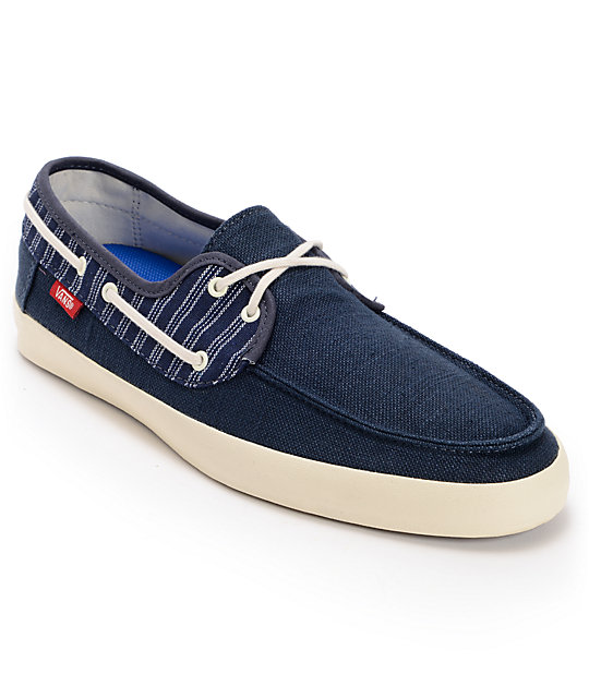 Vans Chauffeur Navy Blue & Antique White Boat Skate Shoes (Mens)