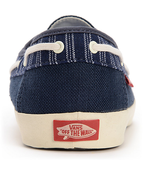 Vans Chauffeur Navy Blue & Antique White Boat Skate Shoes
