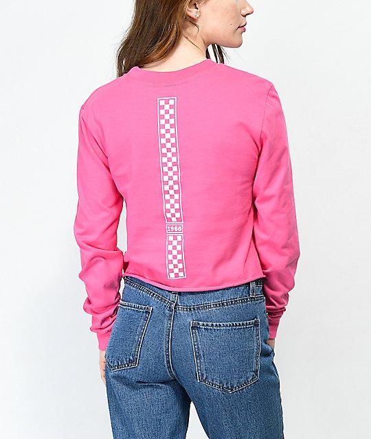 Vans Checkerboard Hot Pink Long Sleeve Crop T Shirt by Vans