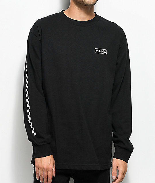 Vans Checkmate Black & White Long Sleeve T-Shirt | Zumiez