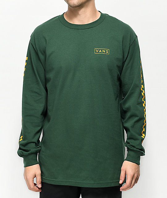 733662b8c12 Vans-Checkmate-Green- -Yellow-Long-Sleeve-T-Shirt- 293011-front-US.jpg