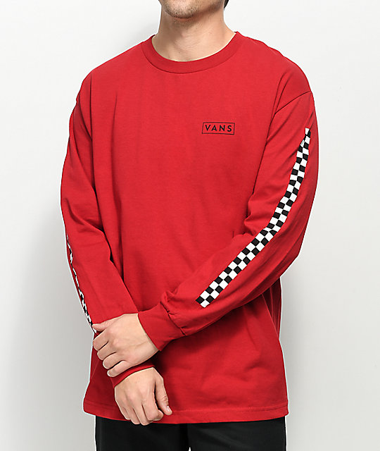 Vans Checkmate Red & Black Long Sleeve T Shirt by Vans